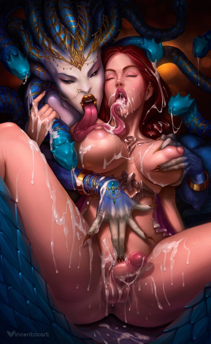 Vincentcc - Futanari Aphrodite getting her big tits grapped by Medusa porn hentai