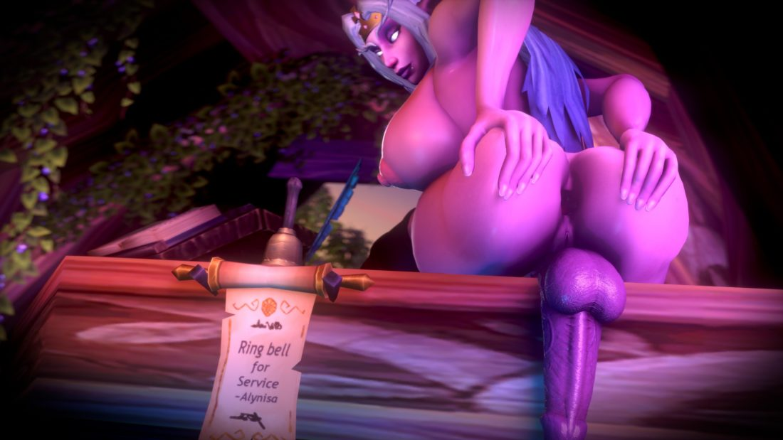 Jimahn - futanari Alynisa the night elf spreading her ass hentai porn