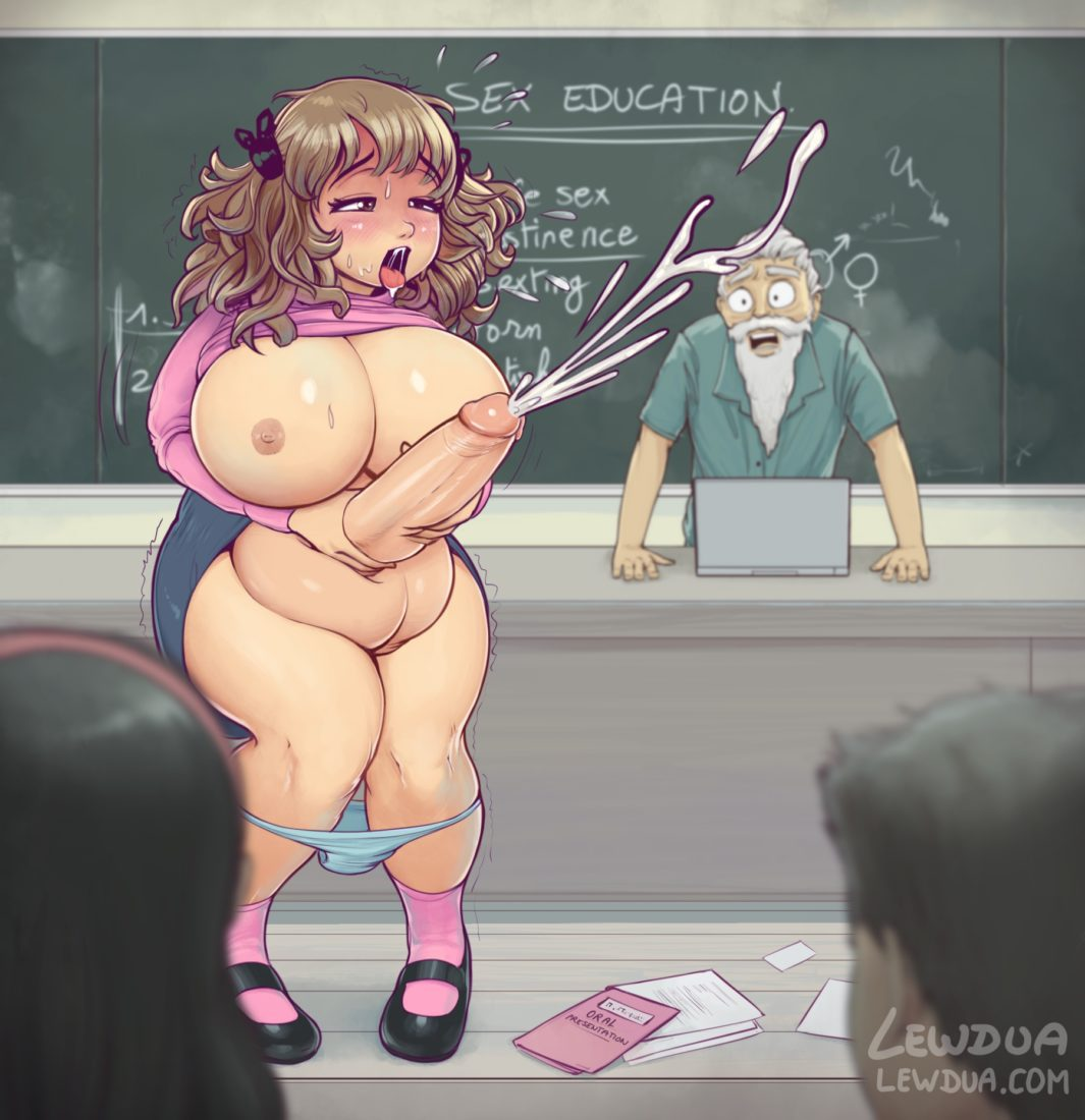 Lewdua - Plump and thick futa girl jerking off in public at school Porn hentai