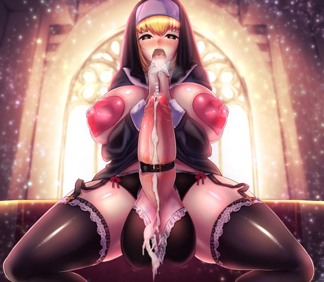 Urakata - Futanari Nun praying on her erect dick hentai porn