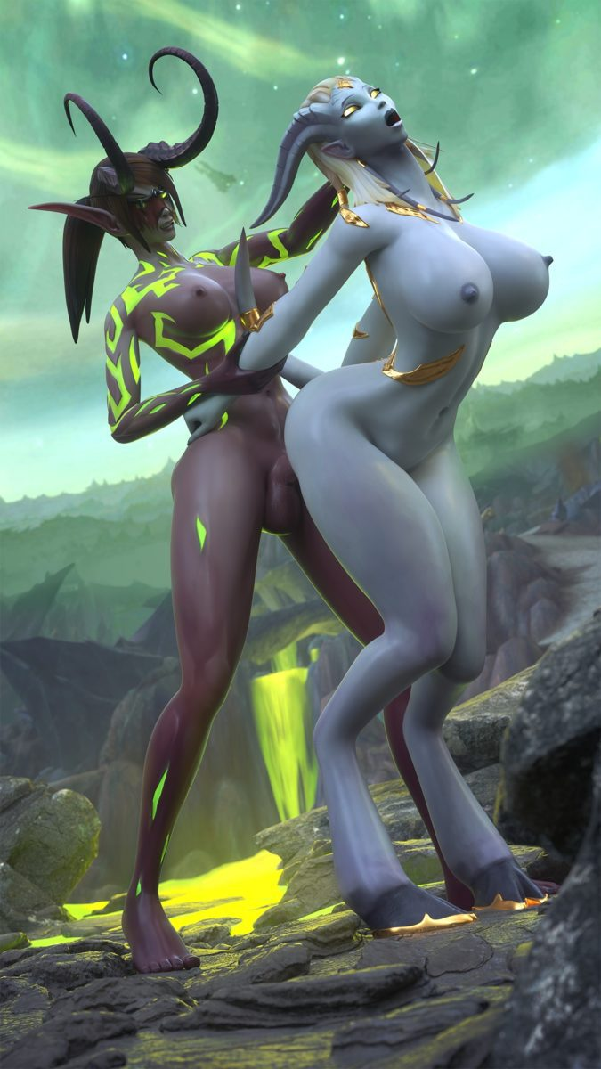 Tektah - Futa demon hunter light forged draenei world of warcraft