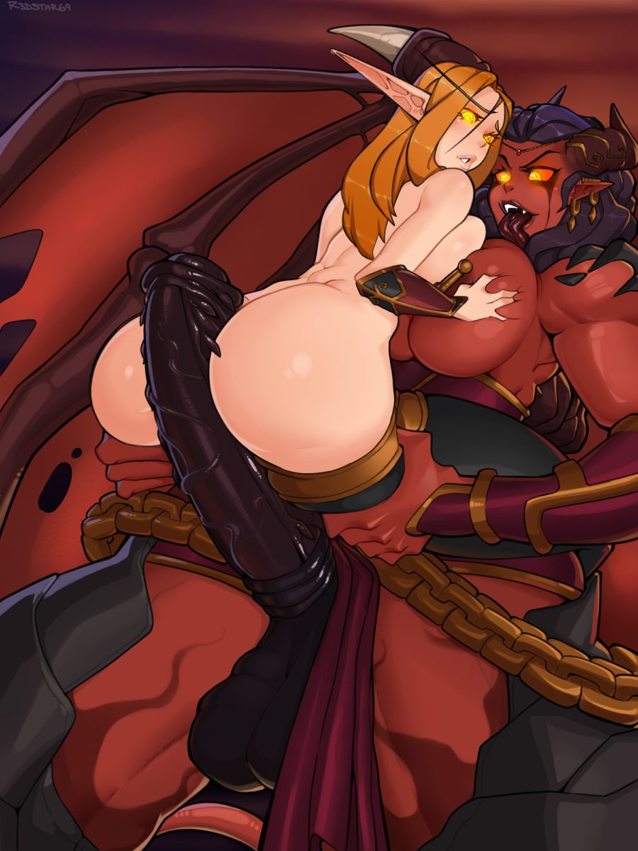 R3dstar - Huge cock futanari Xazariel rubbing her dick on a Blood elf's ass world of warcraft porn