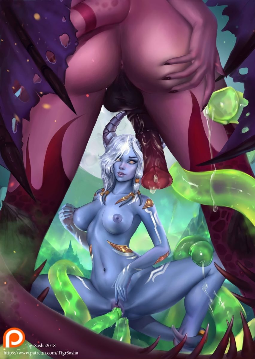 Tigrsasha - Futanari succubus about to fuck a draenei world of warcraft porn