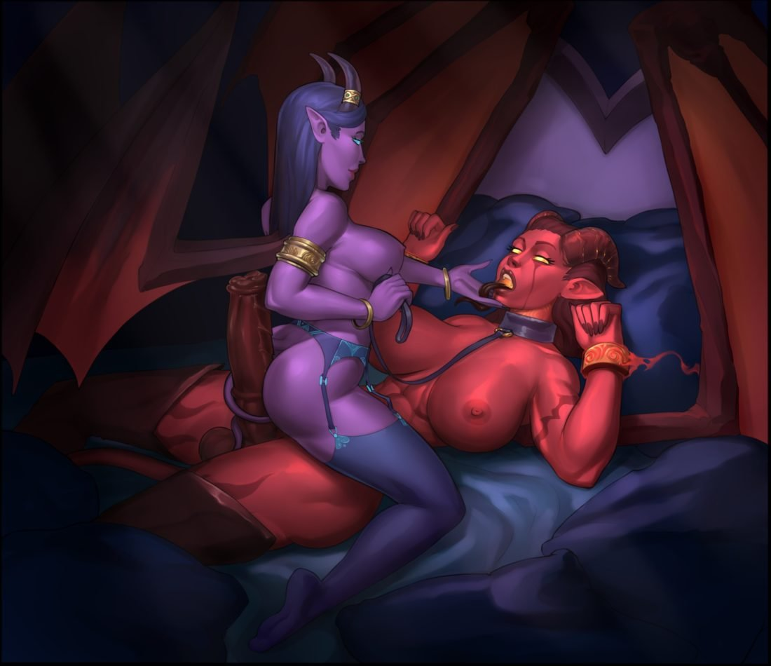 Wahafagart - Draenei riding futa Xazariel's demon dick world of warcraft