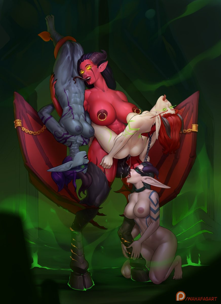 Wahafagart - Futanari demon Xazariel fucking her harem night elf blod elf wow porn