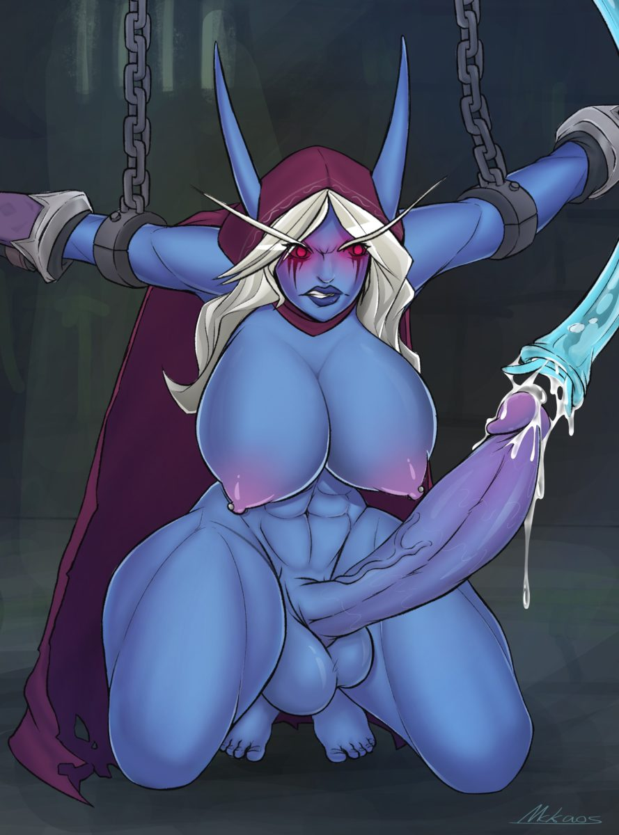 Zures Mckaos - Big dick futa Sylvanas Windrunner getting her dick sucked by a tentacle world of warcraft porn muscle abs